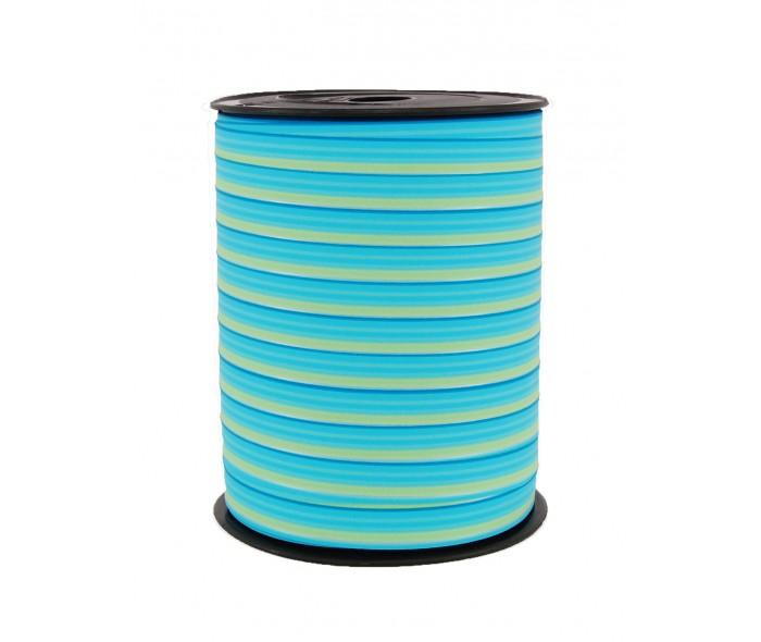 Matt stripete bånd turkis/blå