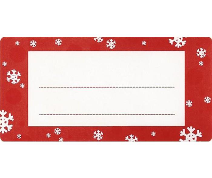 Juleetikett hvit m/rød