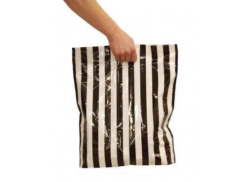 Bæreposer,sort/hvit stripete 45x50/4 cm.
