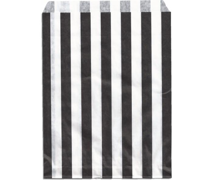 Papirpose stripet. Hvit m/sortel striper