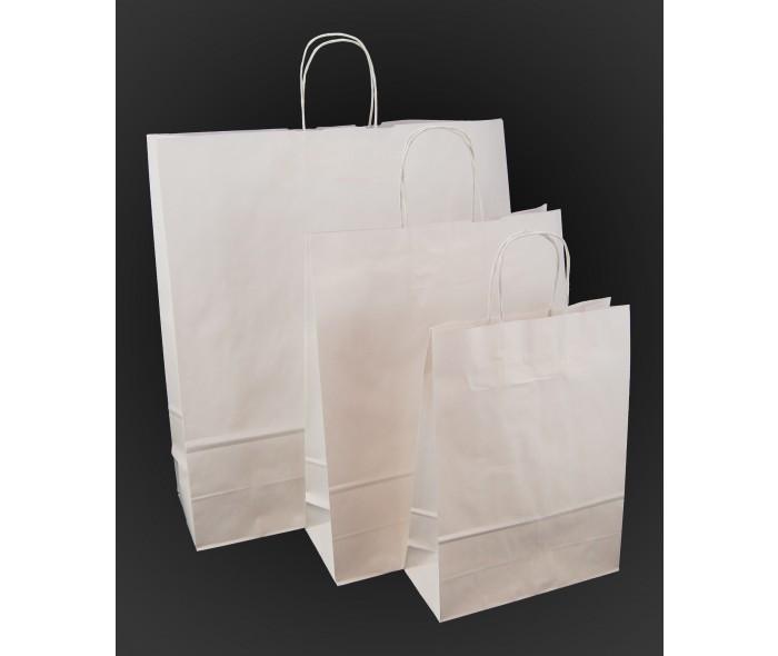 Papirbæreposer m/tvunnede håndtak. Hvite