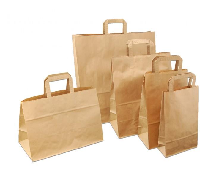 Papirbæreposer m/flate håndtak. Brune