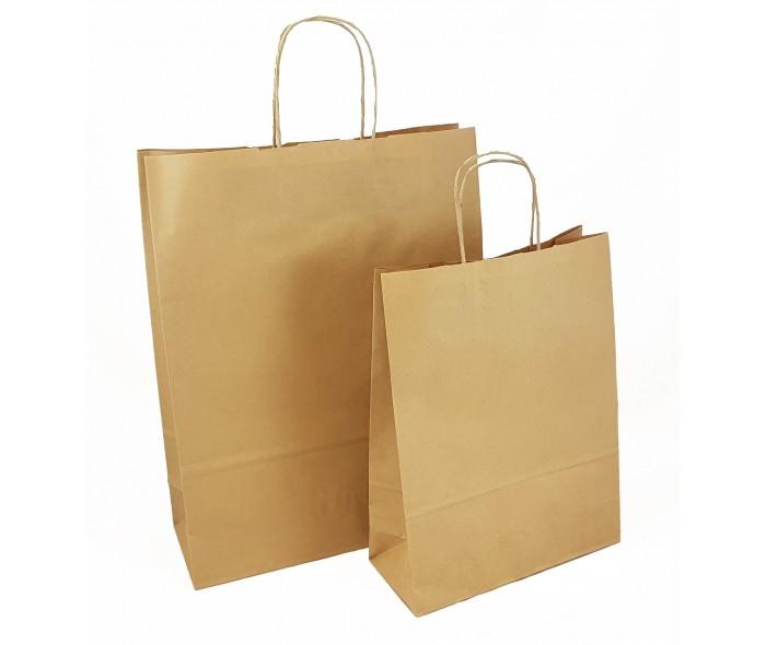 Papirbæreposer m/tvunnede håndtak. Brune