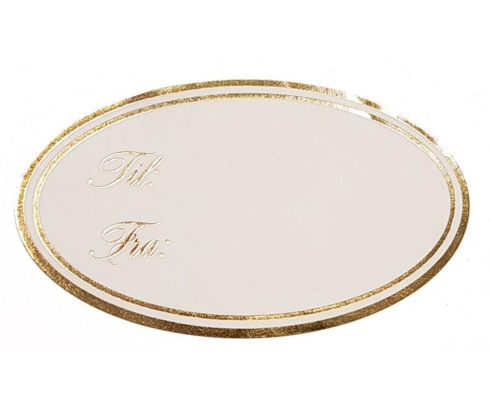 Ovale etiketter m/gull metallic trykk