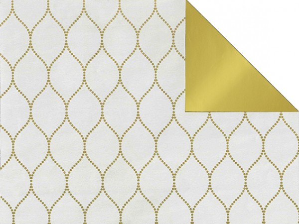 Gavepapir R-73103R Tosidig matt hvit/blank gull