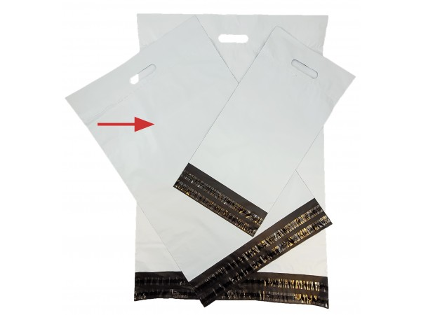 Netthandelpose, hvit 40x50+8+7 cm.